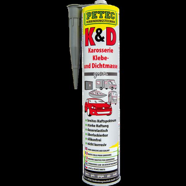 K&D Karosserie Klebe- und Dichtmasse 310ml Kartusche Farbe grau der Marke PETEC